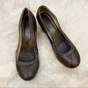 Frye Brown Leather Carson Wedge Pumps